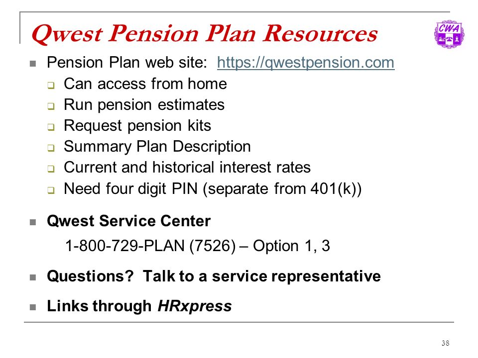 Qwest Pension Plan Resources