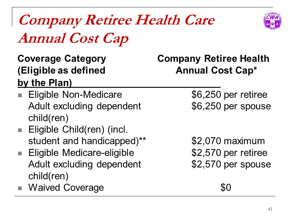 Company Retiree Health Care Annual Cost Cap