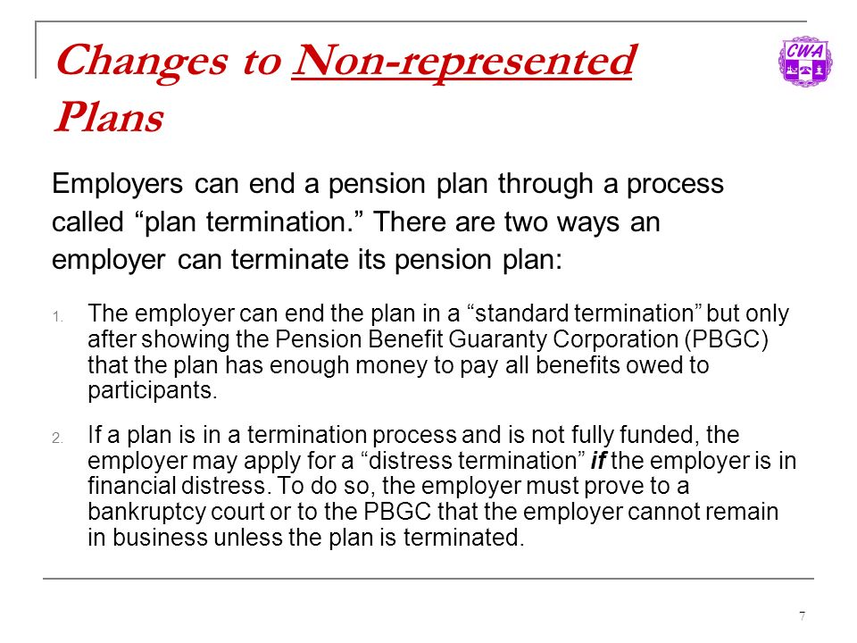 Changes to Non-represented Plans