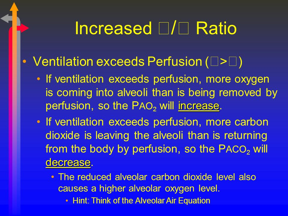 Increased / Ratio Ventilation exceeds Perfusion (>)