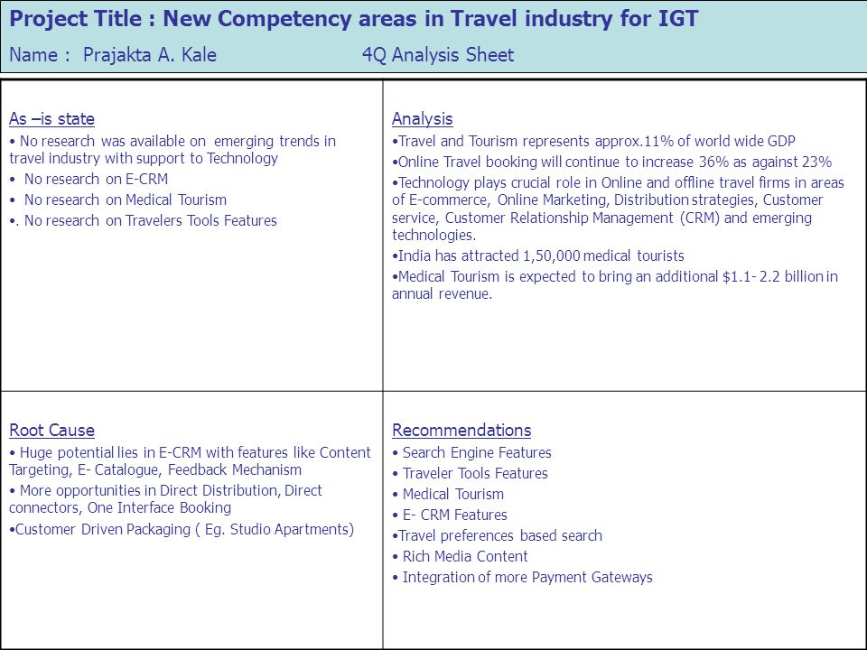 Project Title : New Competency areas in Travel industry for IGT