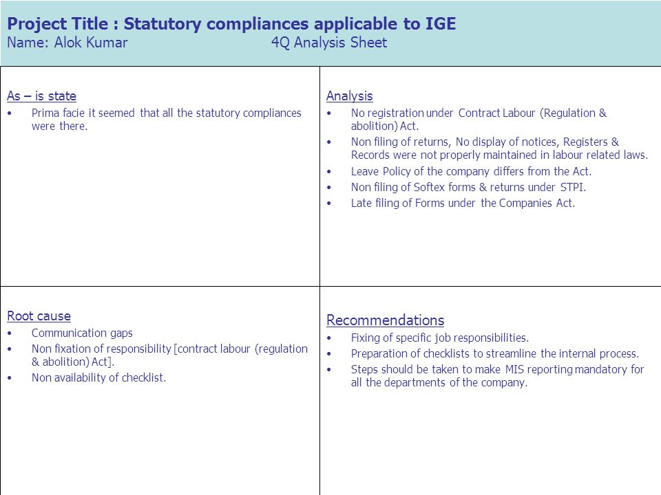 Project Title : Statutory compliances applicable to IGE