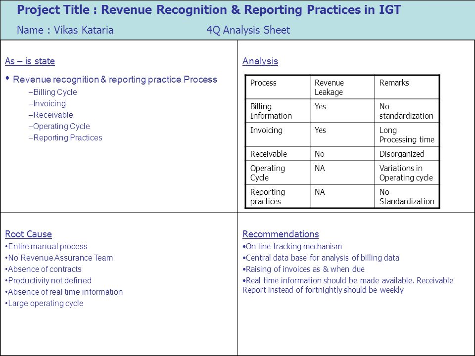 Revenue recognition & reporting practice Process