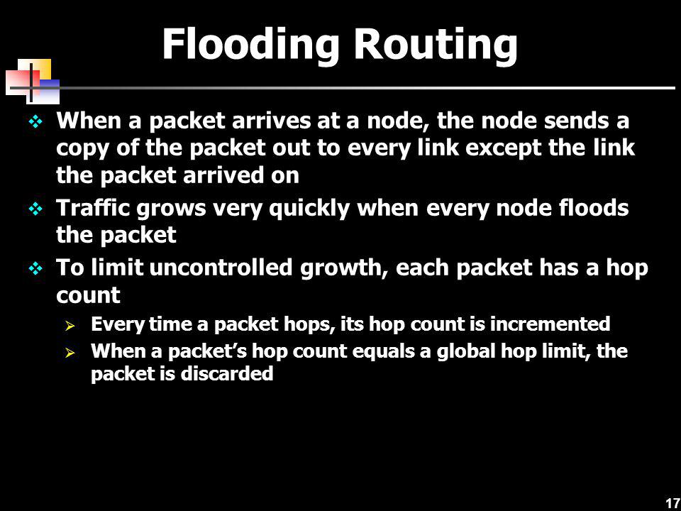 Flooding Routing When a packet arrives at a node, the node sends a copy of the packet out to every link except the link the packet arrived on.