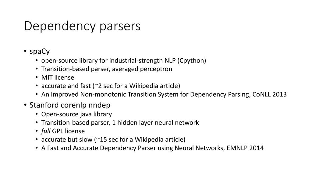 Dependency parsing spaCy and Stanford nndep - ppt download