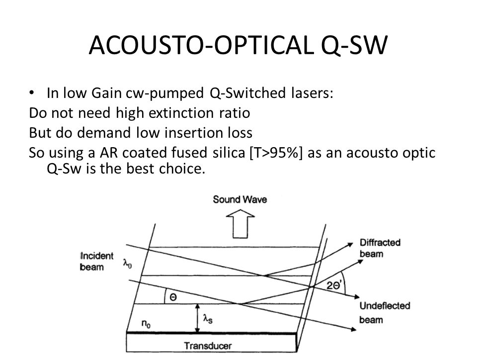 ACOUSTO-OPTICAL Q-SW In low Gain cw-pumped Q-Switched lasers: