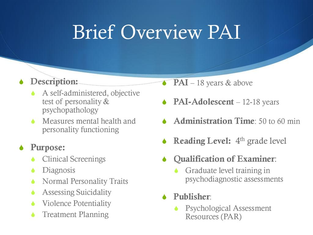Personality Assessment Inventory - ppt download