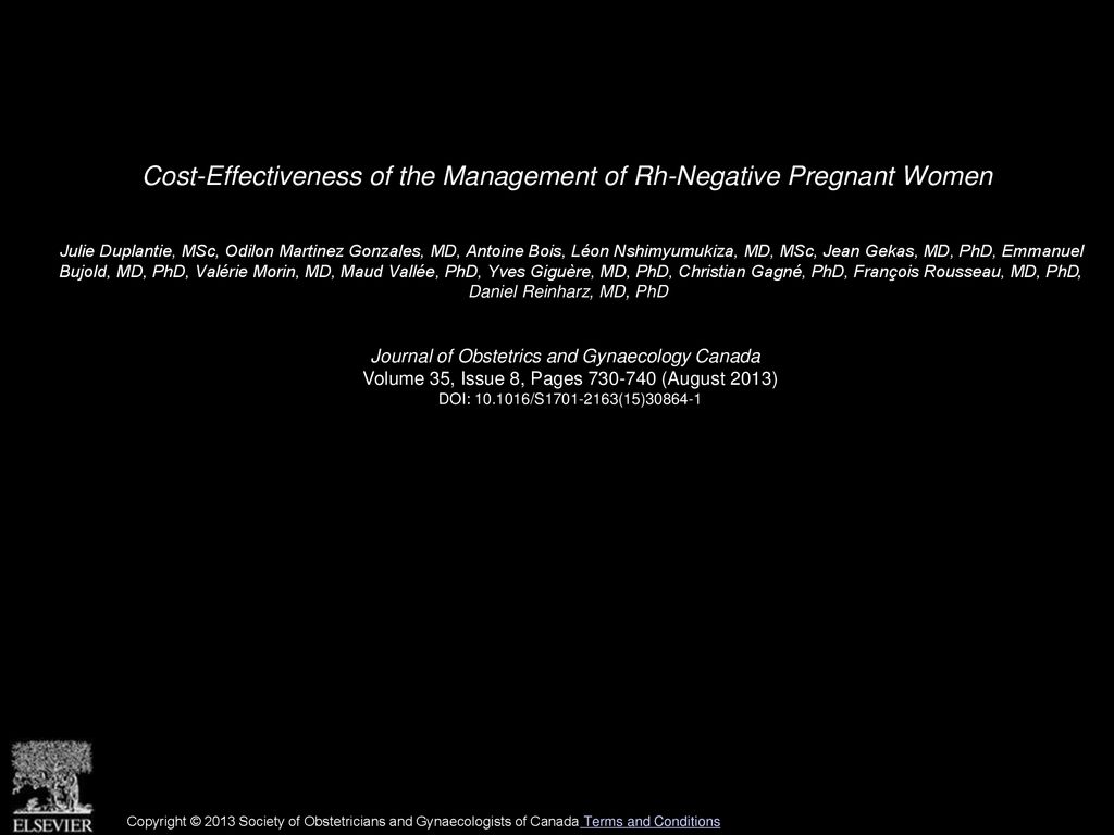 Cost-Effectiveness of the Management of Rh-Negative Pregnant Women