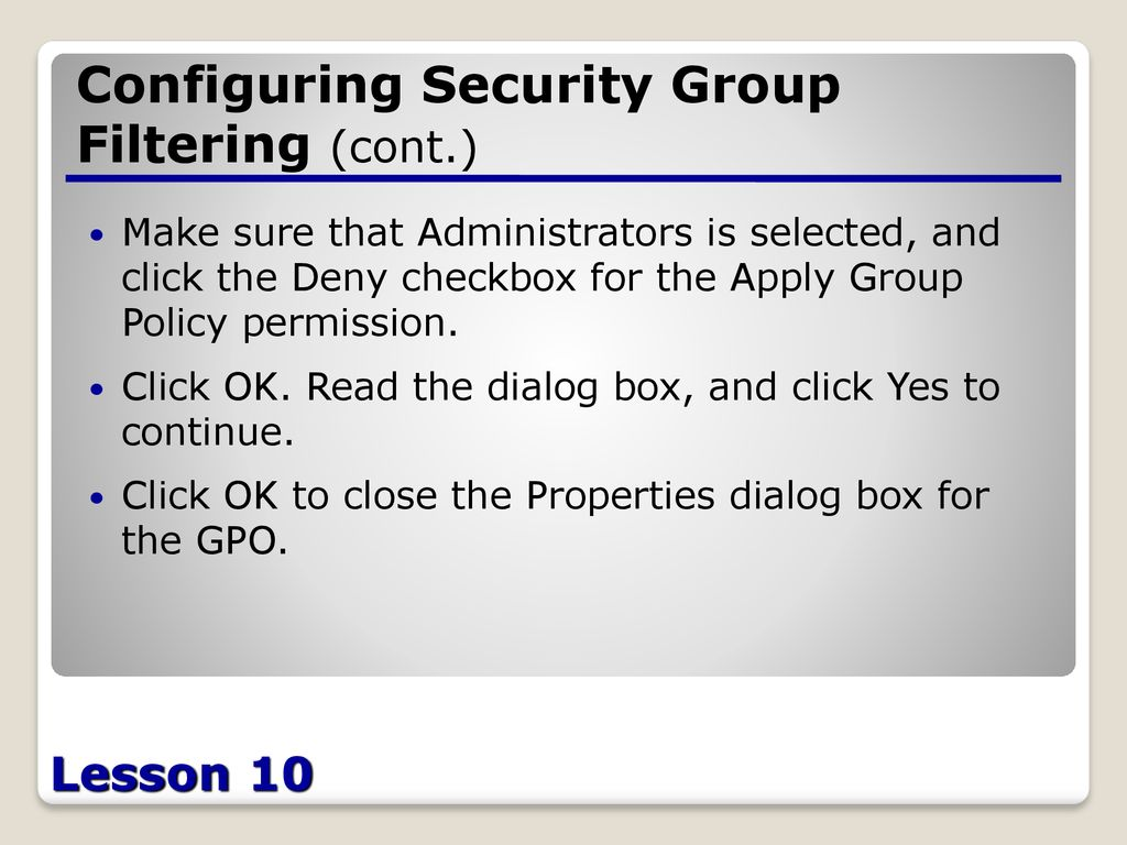 Planning a Group Policy Management and Implementation