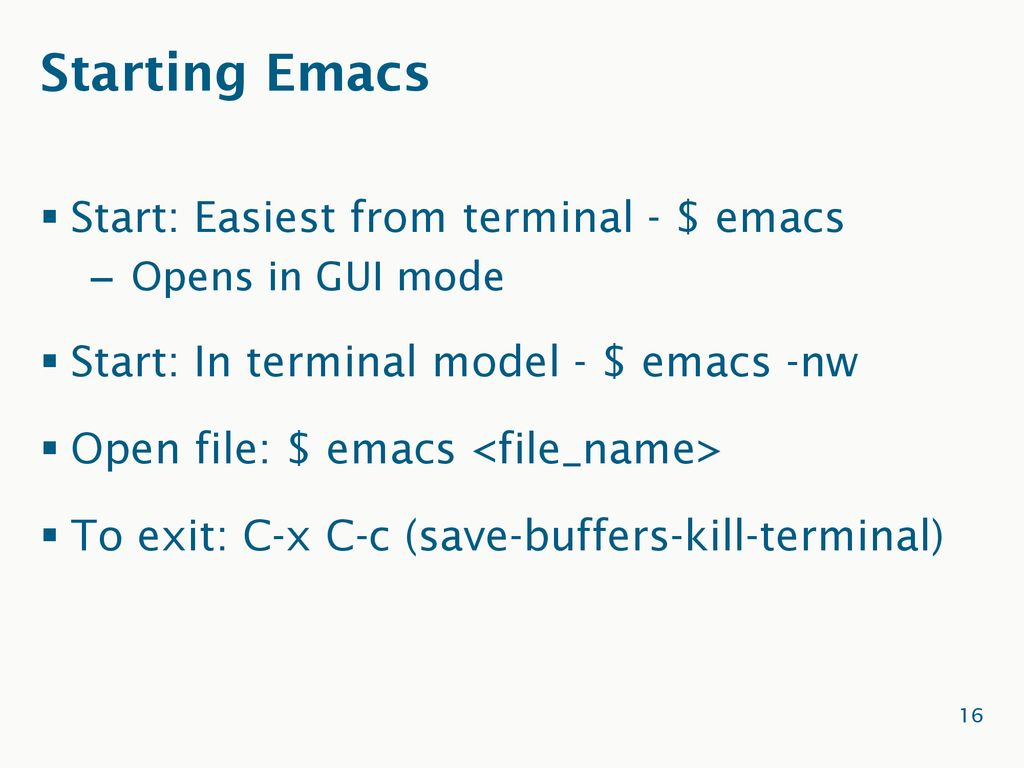 Introduction to Emacs J  Caldwell, N  McCaw, D  Powell - ppt download