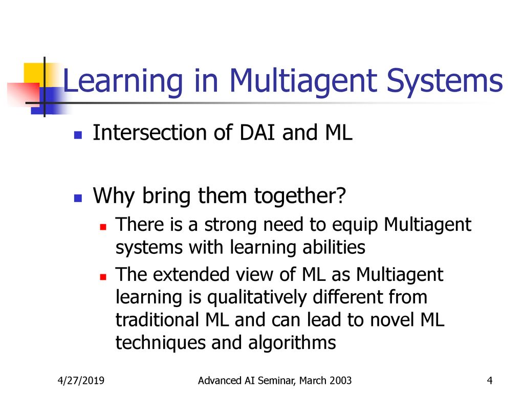 Learning in Multiagent Systems - ppt download