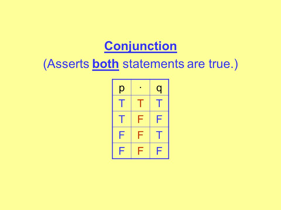 Conjunction (Asserts both statements are true.)