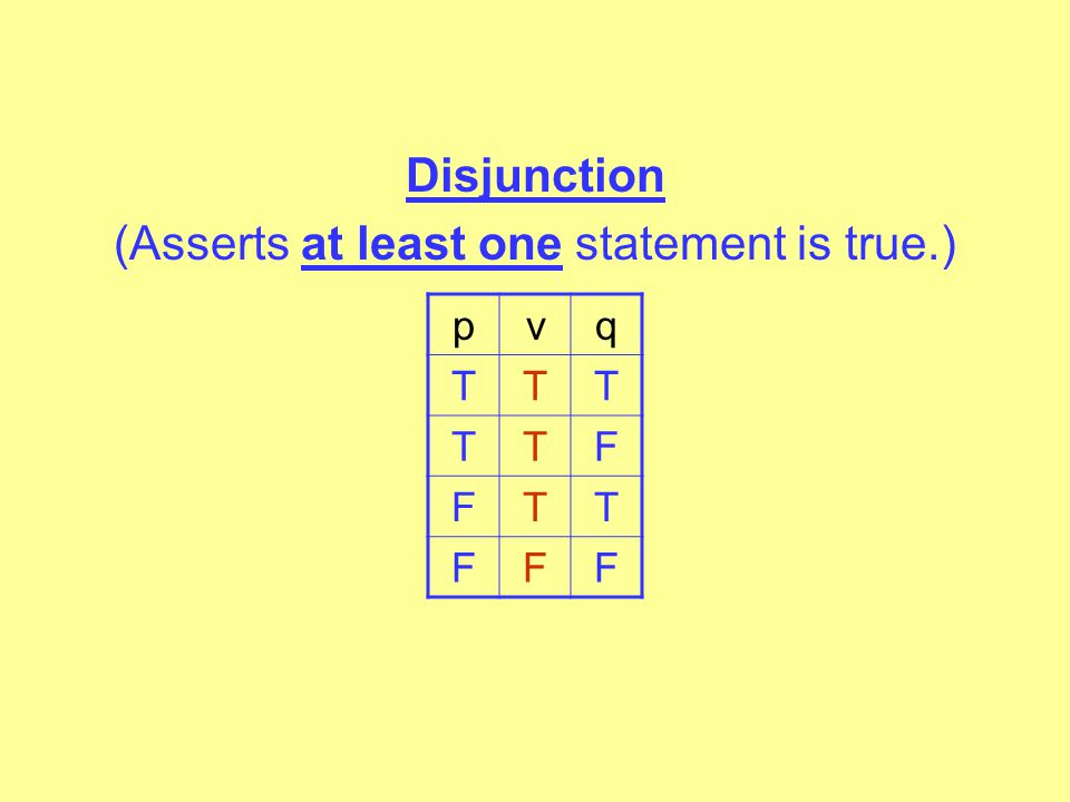 Disjunction (Asserts at least one statement is true.)