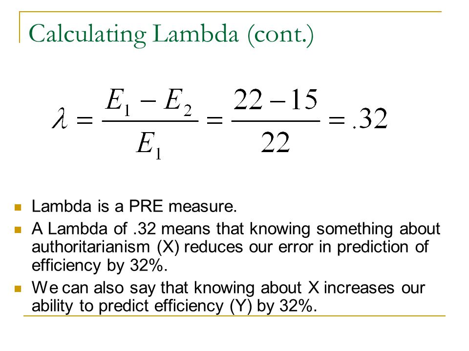 Calculating Lambda (cont.)