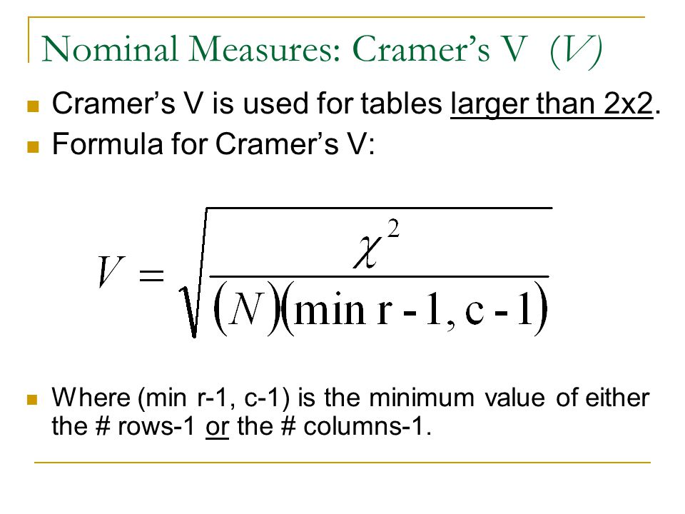 Nominal Measures: Cramer's V (V)