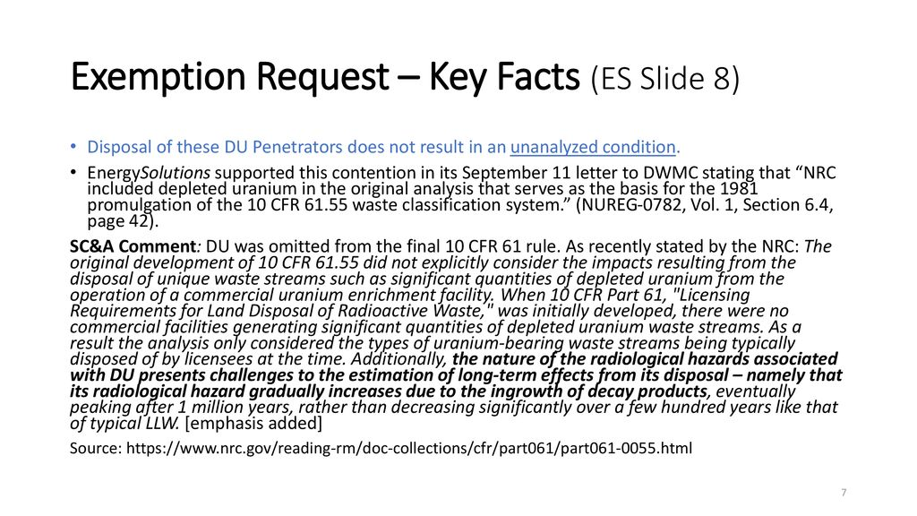 Comments on: EnergySolutions September 13th Presentation to