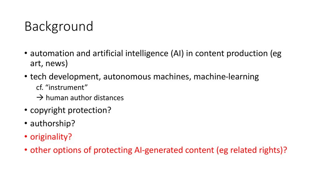 AI-Generated Works and - ppt download
