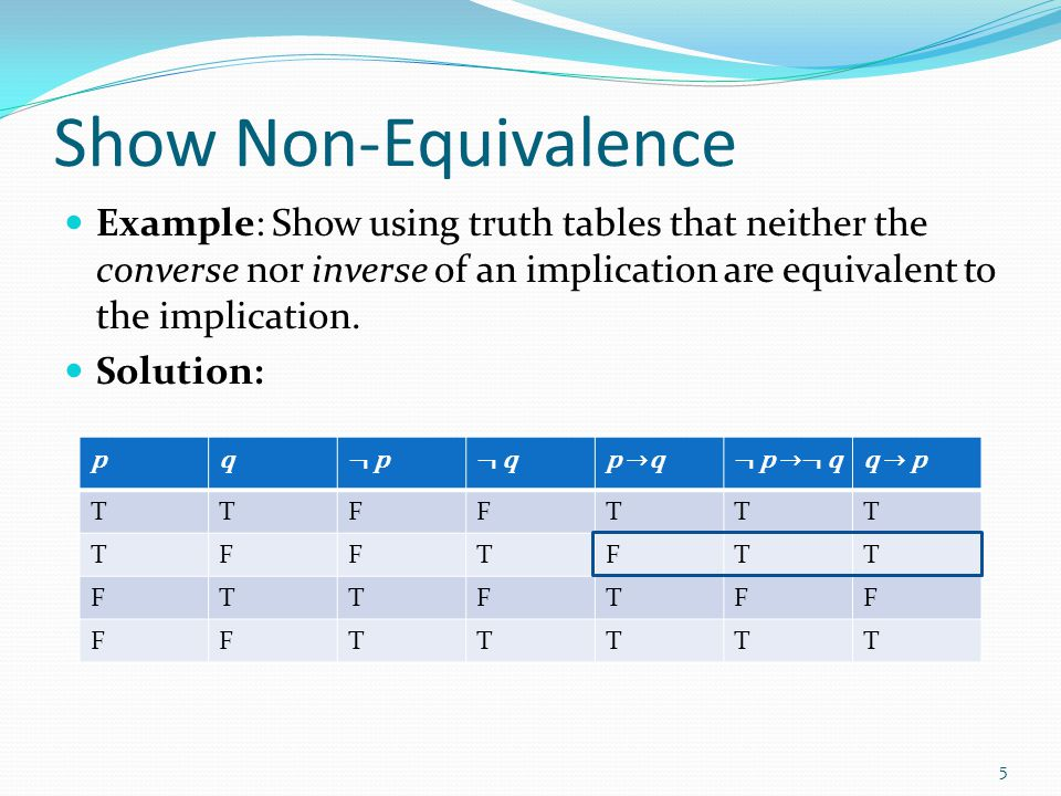 Show Non-Equivalence Example: Show using truth tables that neither the converse nor inverse of an implication are equivalent to the implication.