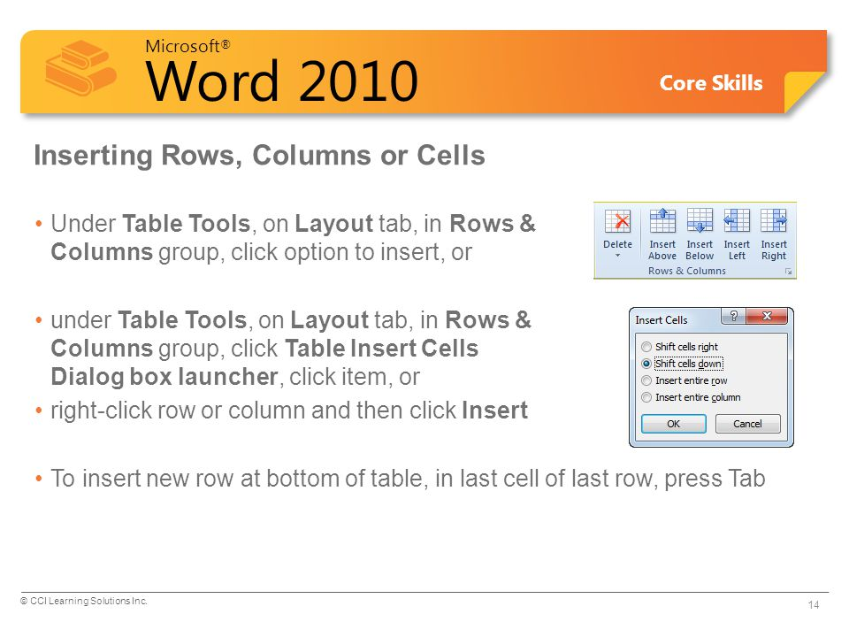 Inserting Rows, Columns or Cells