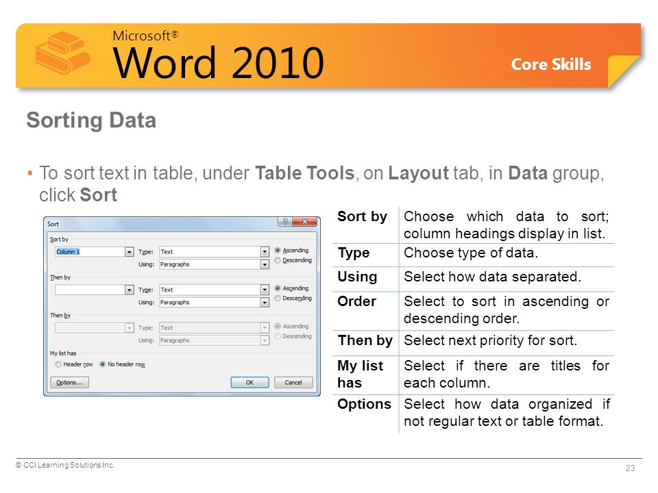 Sorting Data To sort text in table, under Table Tools, on Layout tab, in Data group, click Sort. Sort by.