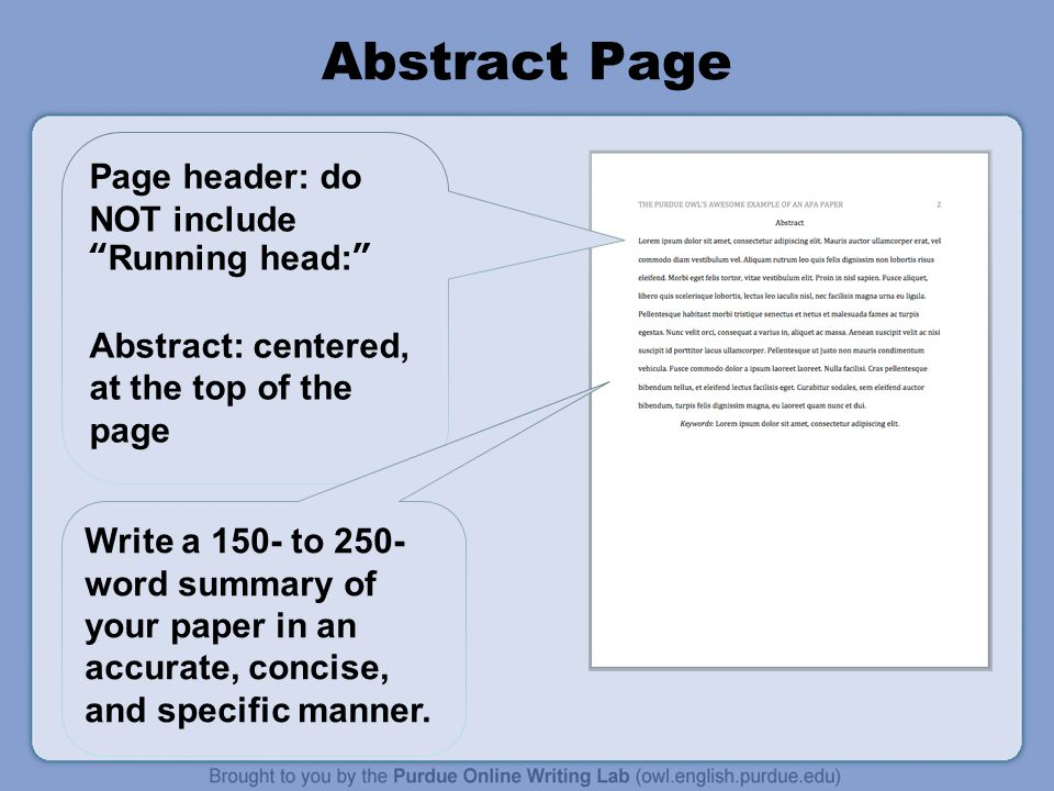 Abstract Page Page header: do NOT include Running head: