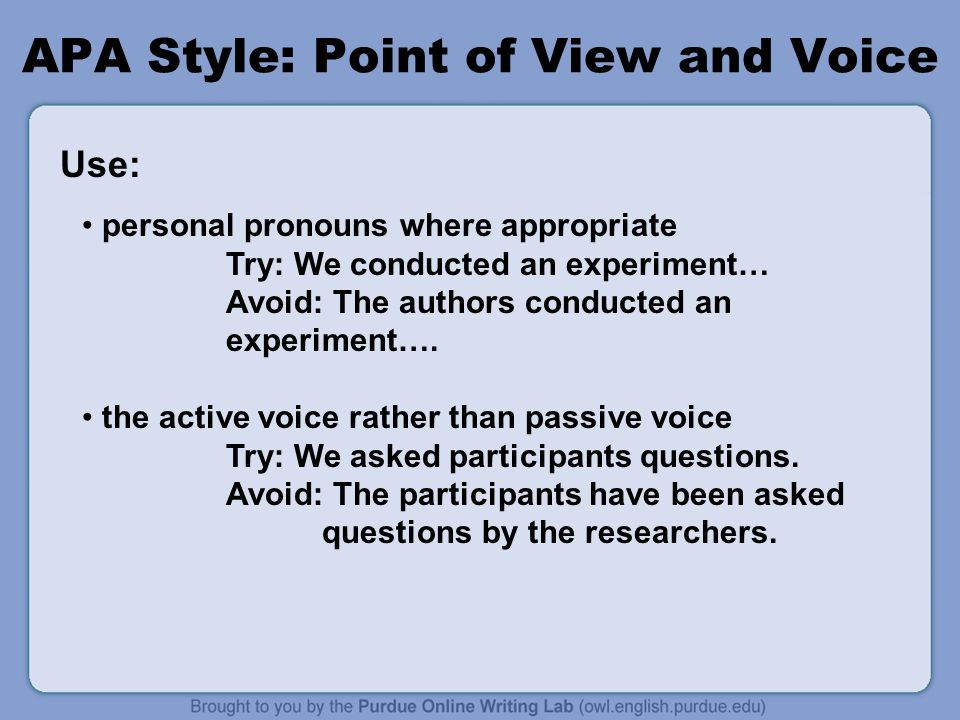 APA Style: Point of View and Voice