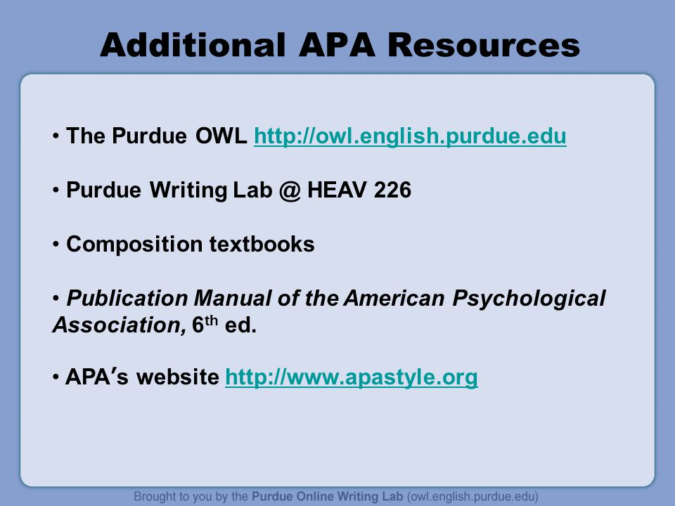 Additional APA Resources