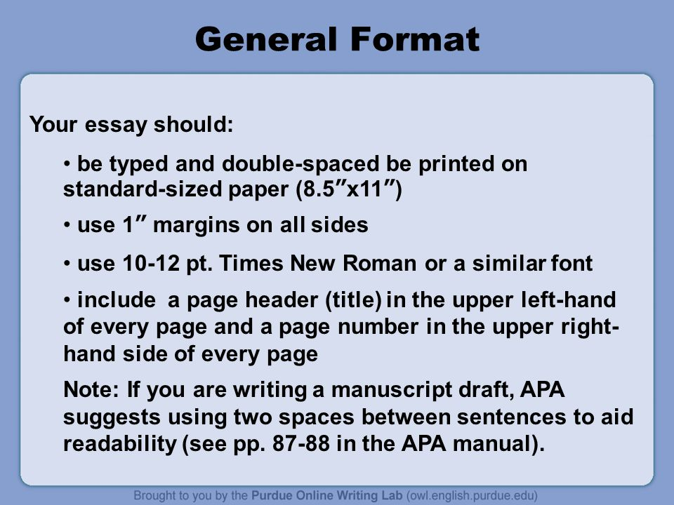 General Format Your essay should: