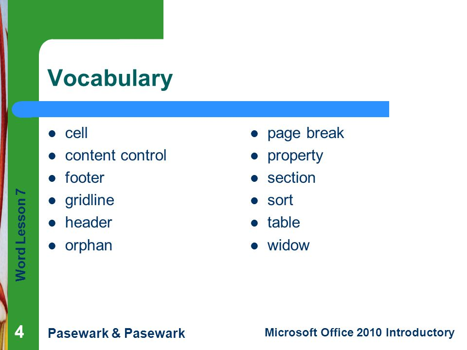 Vocabulary 4 4 cell content control footer gridline header orphan