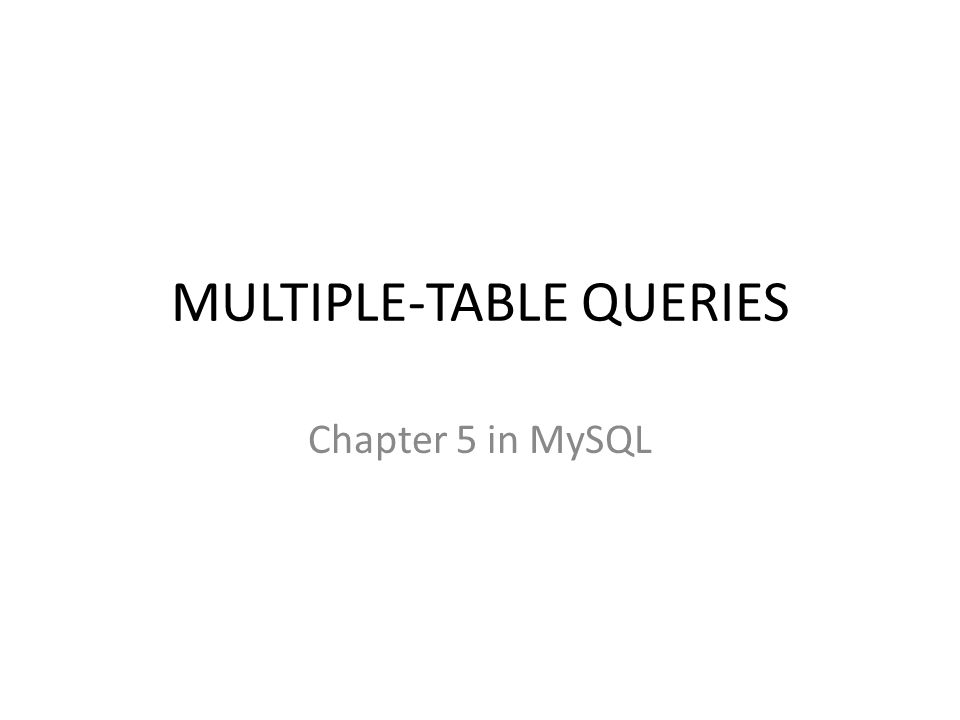 Multiple Table Queries Ppt Download