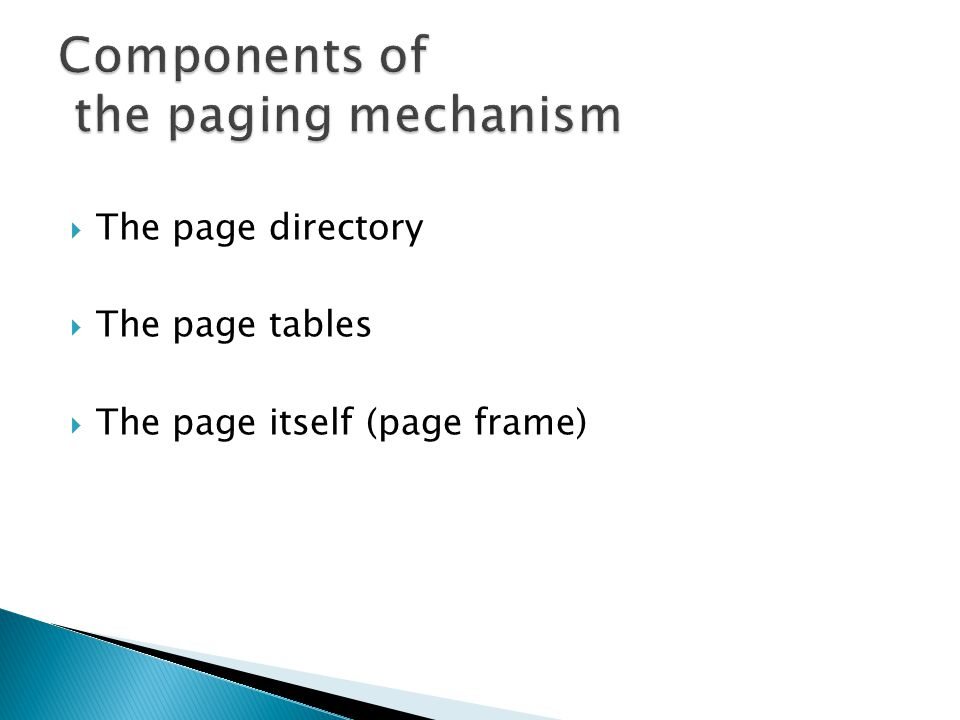 Components of the paging mechanism