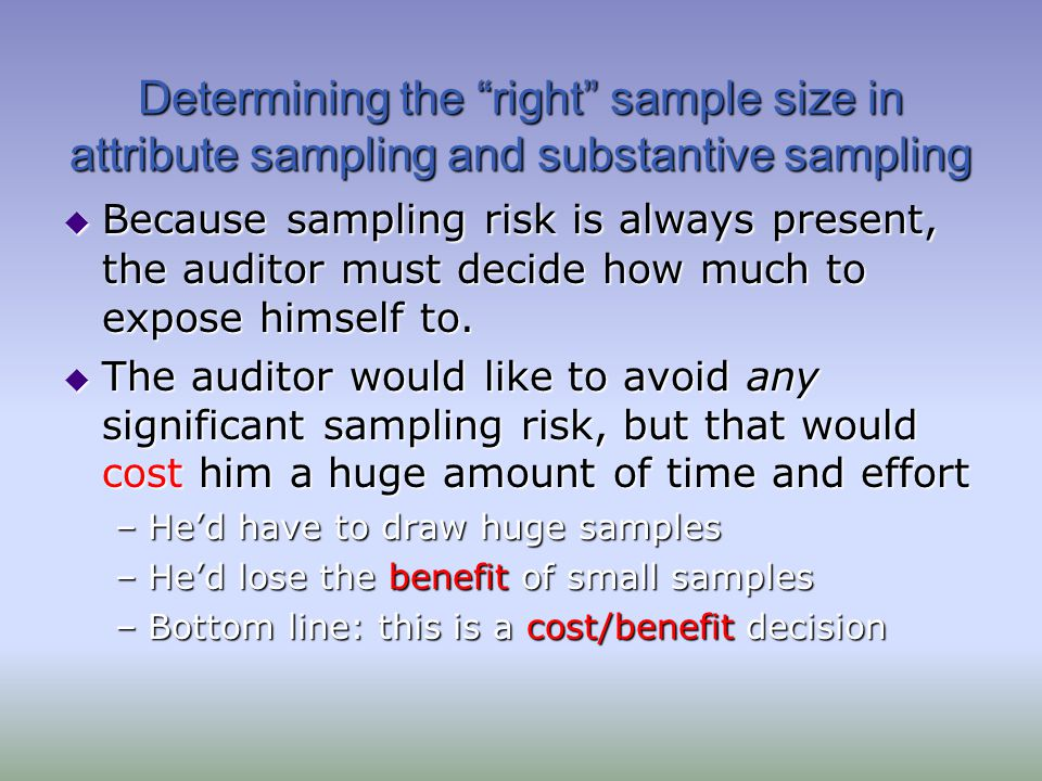 Determining the right sample size in attribute sampling and substantive sampling