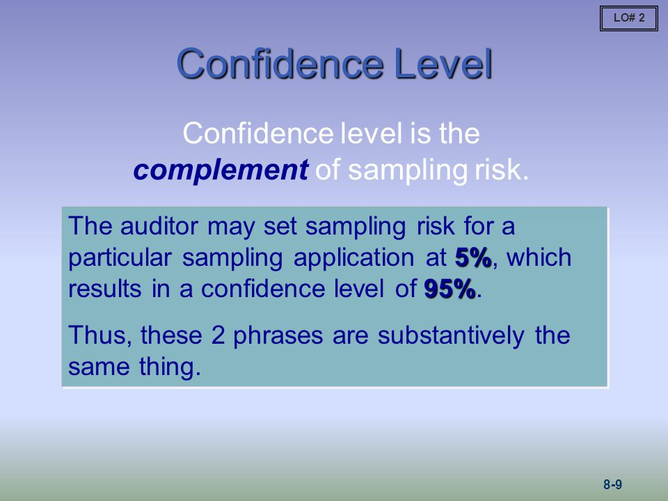 Confidence level is the complement of sampling risk.