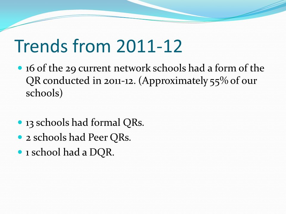 Trends from 2011-12 16 of the 29 current network schools had a form of the QR conducted in 2011-12. (Approximately 55% of our schools)