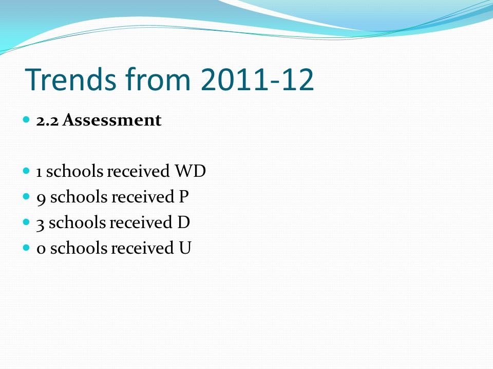 Trends from 2011-12 2.2 Assessment 1 schools received WD