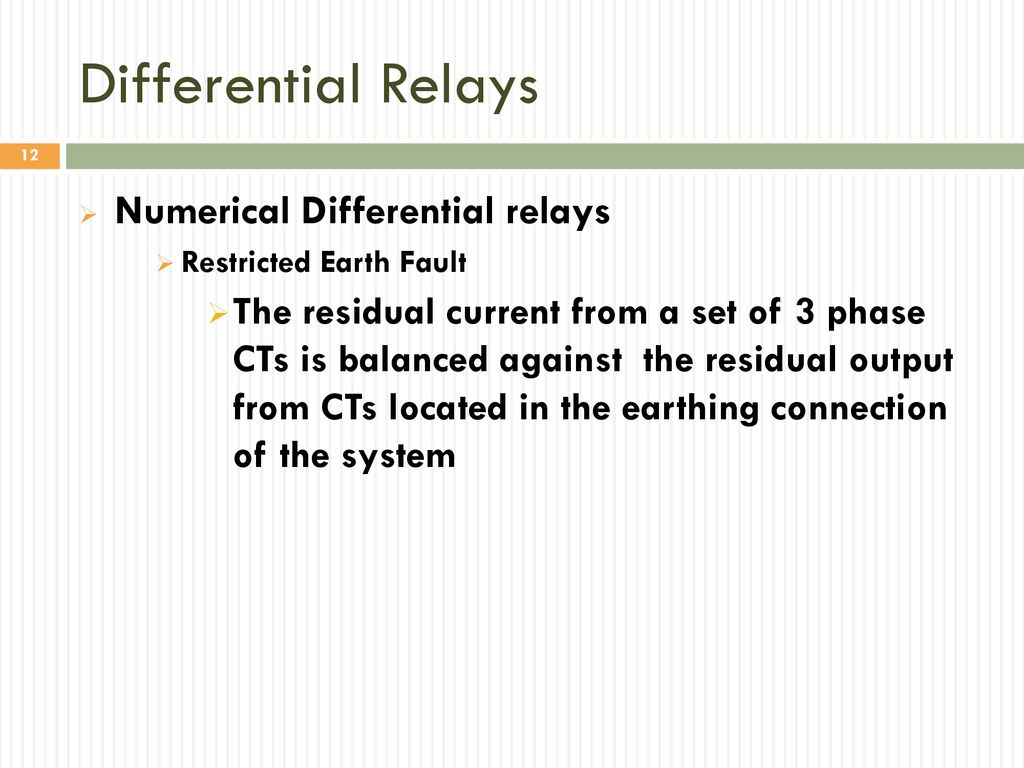 Differential Relays Numerical Differential Relays True Unit