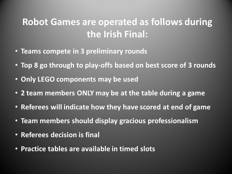 Robot Games are operated as follows during the Irish Final: