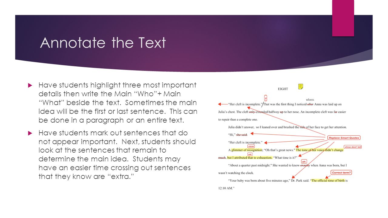 Annotate the Text