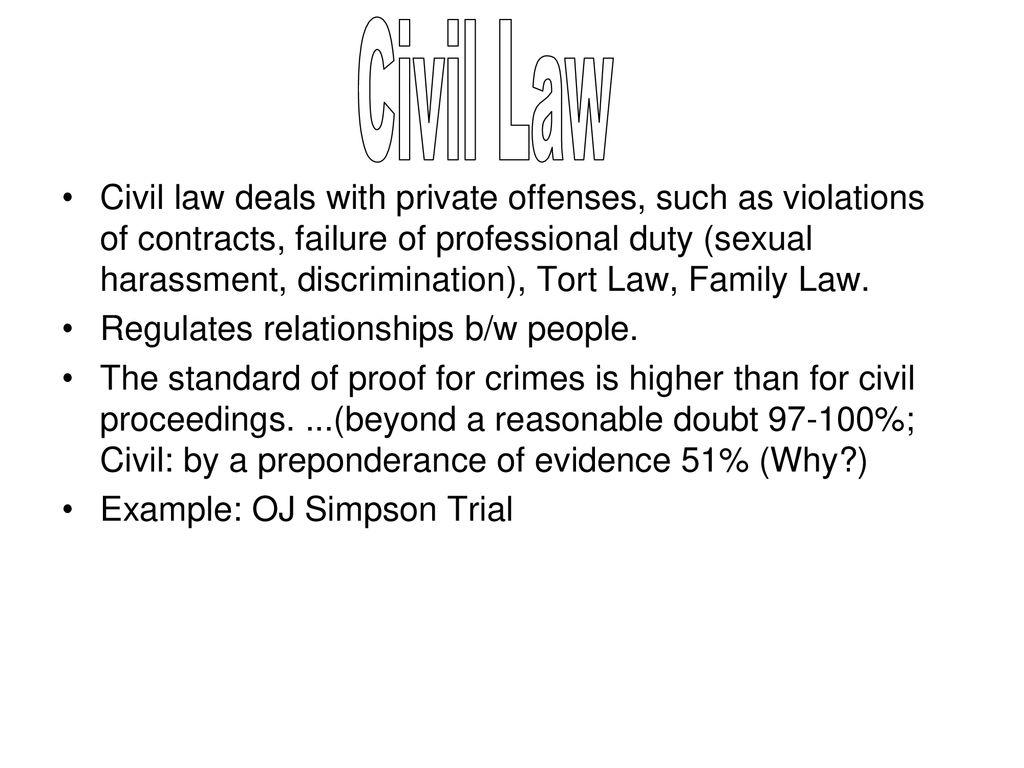 Criminal vs  Civil Law SWBAT: Explain the differences