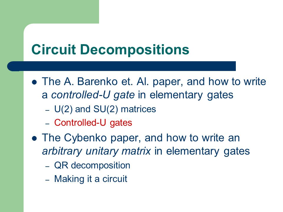 Circuit Decompositions