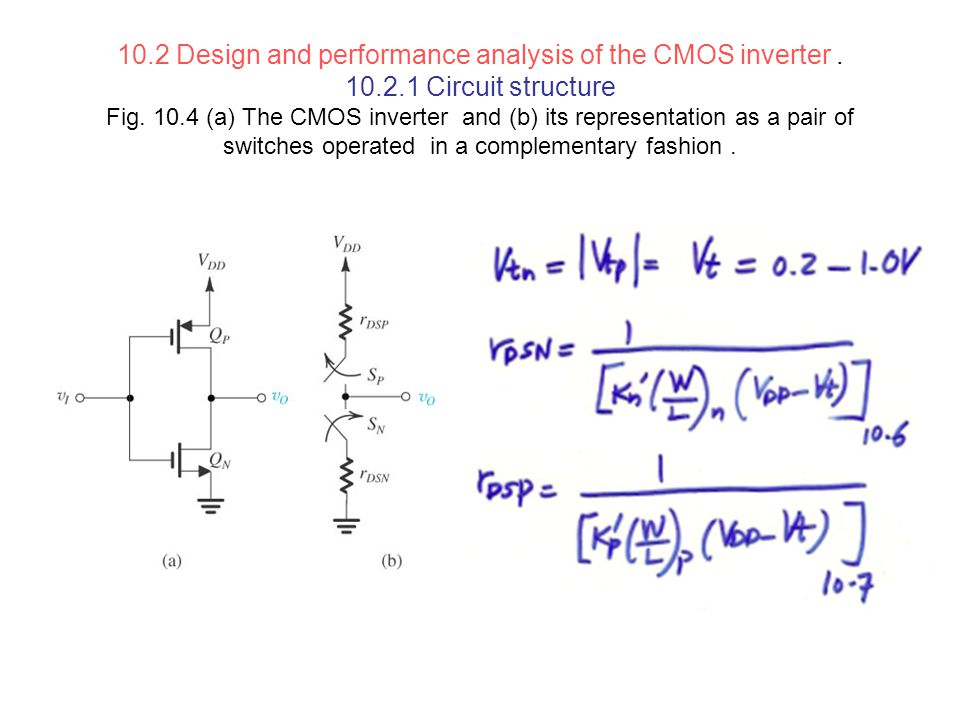10. 2 Design and performance analysis of the CMOS inverter