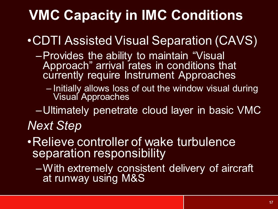 VMC Capacity in IMC Conditions