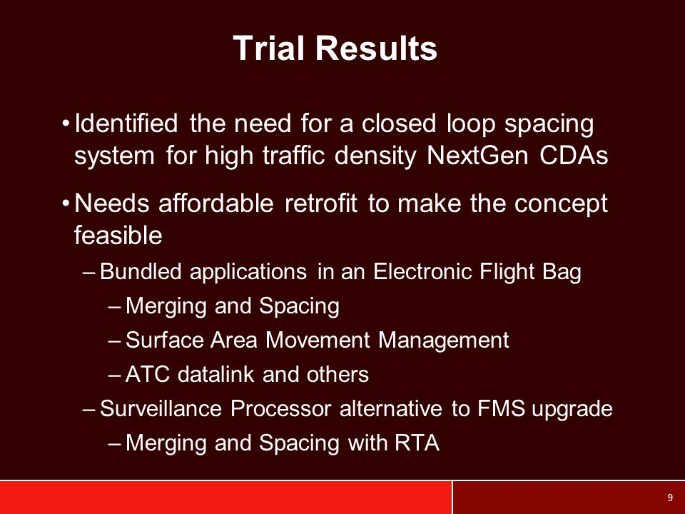 Trial Results Identified the need for a closed loop spacing system for high traffic density NextGen CDAs.