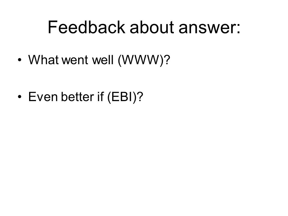 Feedback about answer: