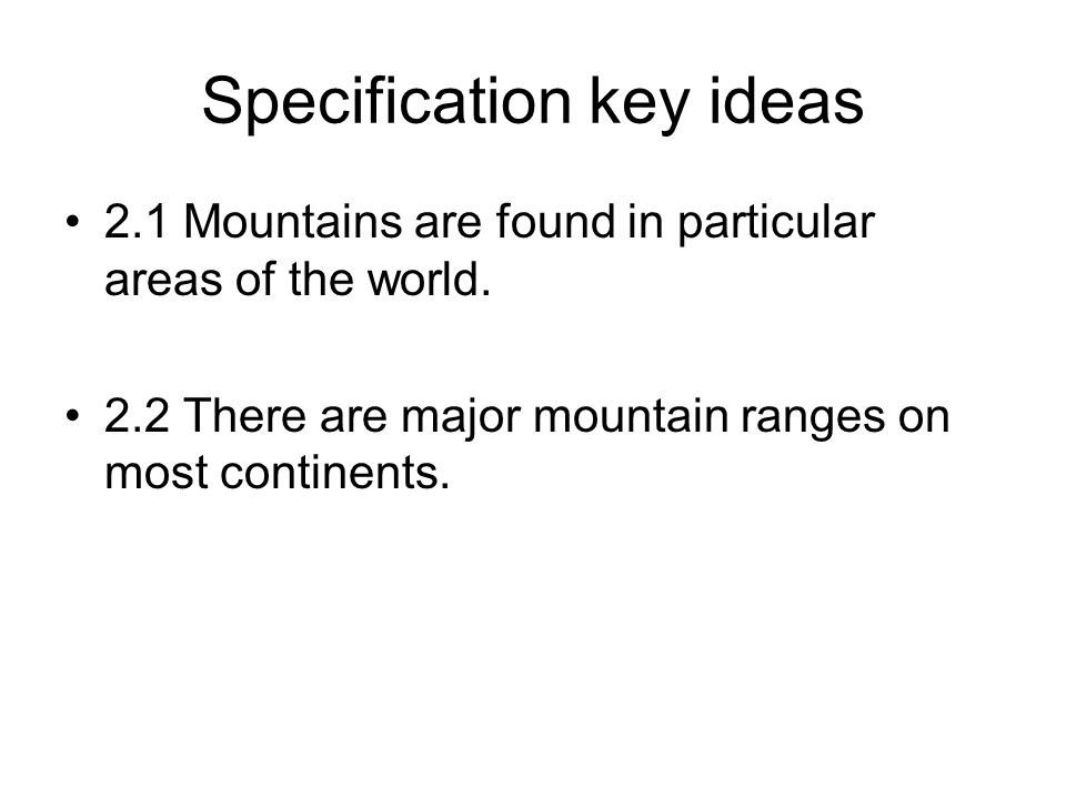 Specification key ideas