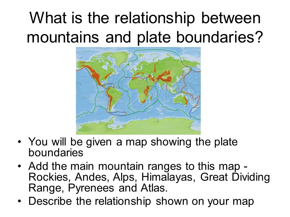 What is the relationship between mountains and plate boundaries