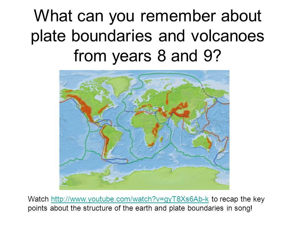 What can you remember about plate boundaries and volcanoes from years 8 and 9