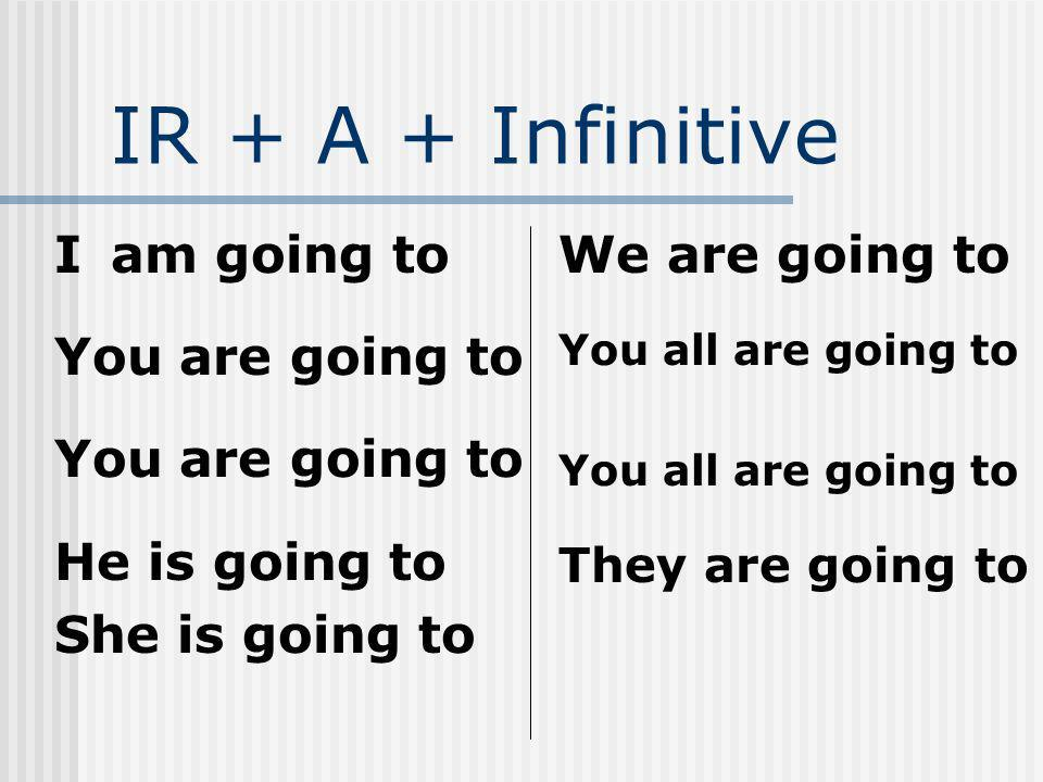 IR + A + Infinitive I am going to You are going to He is going to