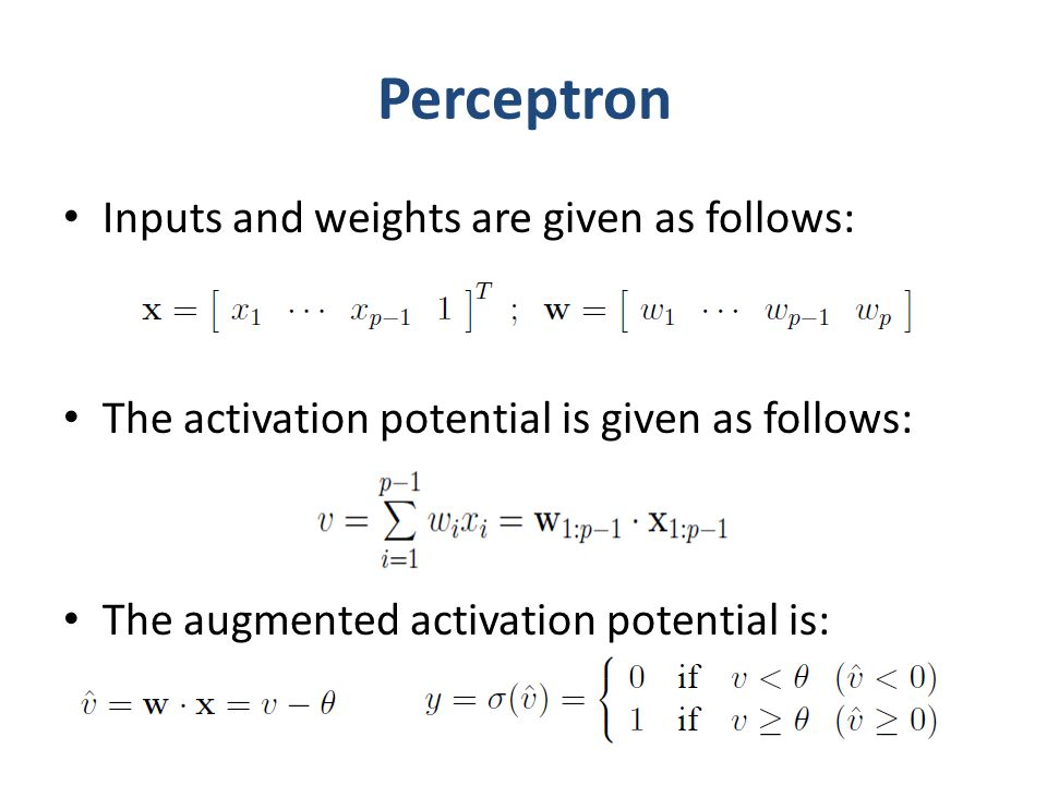 Perceptron Inputs and weights are given as follows: