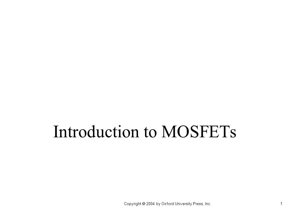 Introduction to MOSFETs